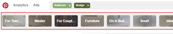 Pinterest provides search suggestions, too.