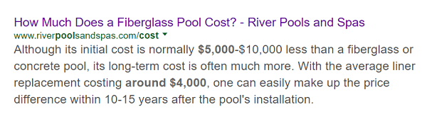 River Pools' article on the cost of a fiberglass pool shows up first in a search of that topic.