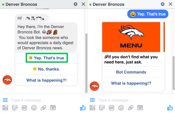 The Denver Broncos chatbot prompts users to sign up for their daily digest.