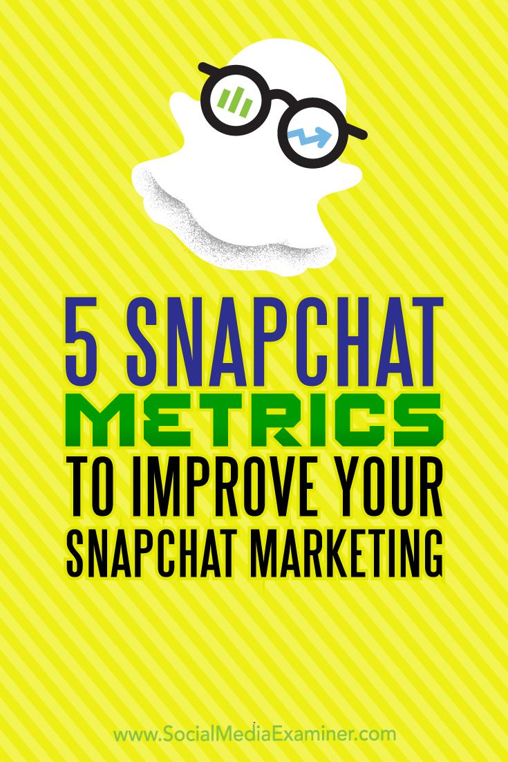 5 Snapchat Metrics to Improve Your Snapchat Marketing by Sweta Patel on Social Media Examiner.