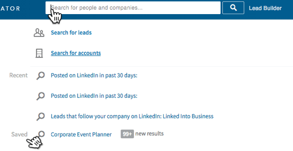 Click in the LinkedIn search box to find your saved searches.