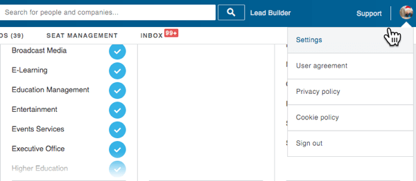 Go to Settings in LinkedIn Sales Navigator.