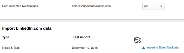 Scroll down the Settings page and click the link to import your connections to LinkedIn Sales Navigator.