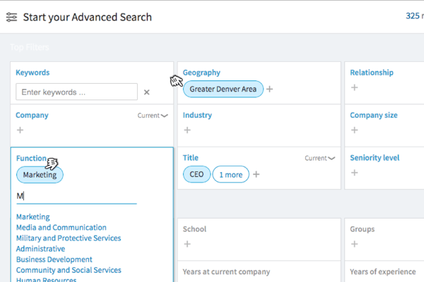 Sales Navigator offers 22 filters for advanced search.