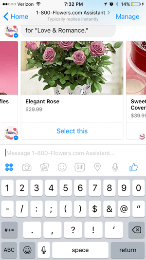 Customers can easily browse and select products from the 1-800-Flowers chatbot.