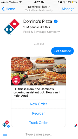 The Domino's chatbot makes it easy for customers to track their order. This can cut down on calls to the store.