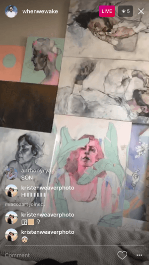 Artist profile whenwewake used Instagram live to give a sneak peek at some of his new paintings.