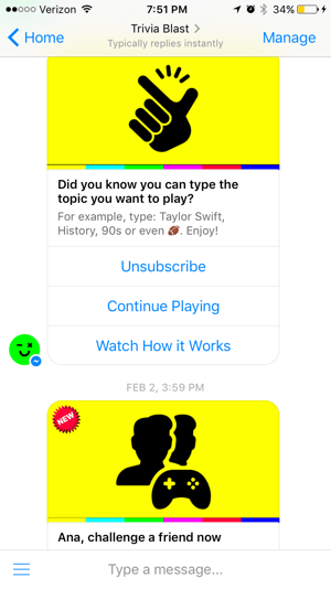 Trivia Blast's chatbot focuses on trivia games users can play, but also maintains a high level of interaction with options like