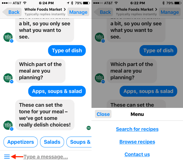 Including browsing menus in your chatbot makes it easier for users to find the information they're looking for.