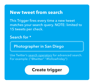 Type in your search term and click Create Trigger.