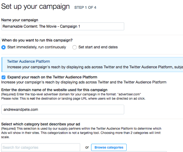 Fill in these fields to start setting up your Twitter ad campaign.