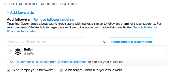 You can target your ad to the followers of another Twitter account.