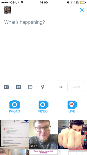 Compose a new tweet and tap the Live icon.