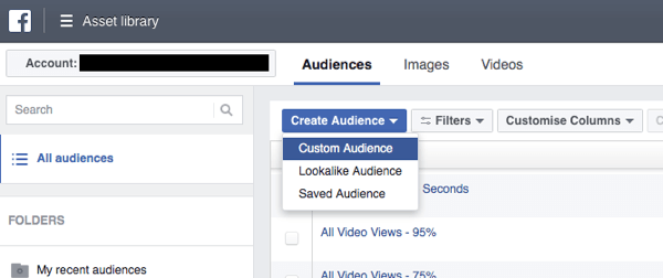 In Facebook Ads Manager, click Create Audience and select Custom Audience from the drop-down list.