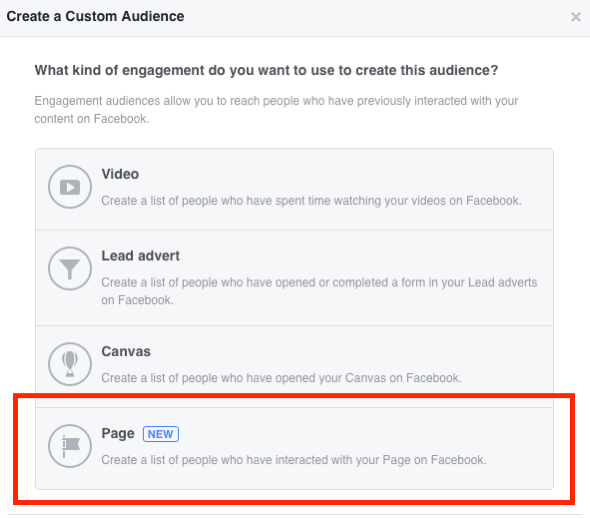 Select Page as the type of engagement you want to use to create your Facebook custom audience.