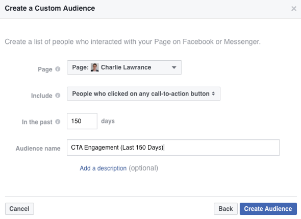 Choose the option to include people who have clicked a call-to-action button on your Facebook page.