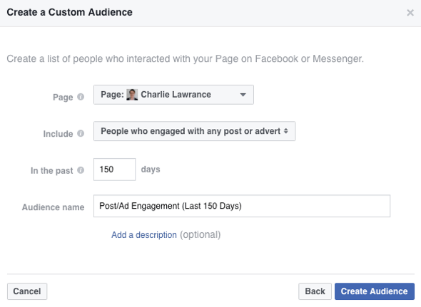 To create your custom audience, select People Who Engaged With Any Post or Ad from the drop-down list.