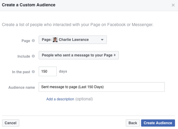 Select the option to create an audience of people who have sent a message to your Facebook page.