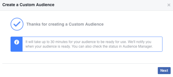 Once you've created your new Facebook custom audience, it can take up to 30 minutes to populate.