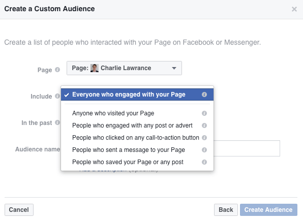Select Everyone Who Engaged With Your Page from the Include drop-down list.