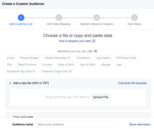 When creating a Facebook custom audience from your email list, you can improve your match rate with additional identifiers.
