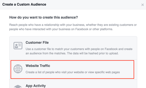 Create a Facebook custom audience based on website traffic.