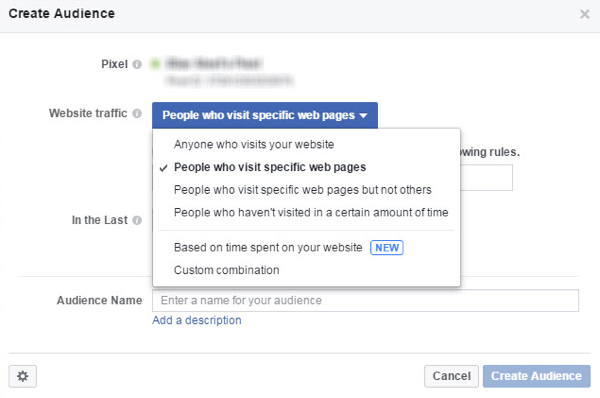 From the Website Traffic menu, choose whom you want to include in your Facebook custom audience.