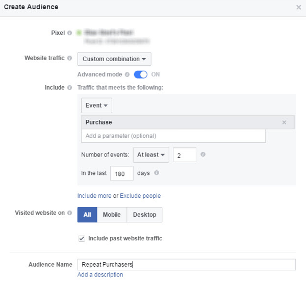 Set up a Facebook custom audience based on a defined purchase behavior.