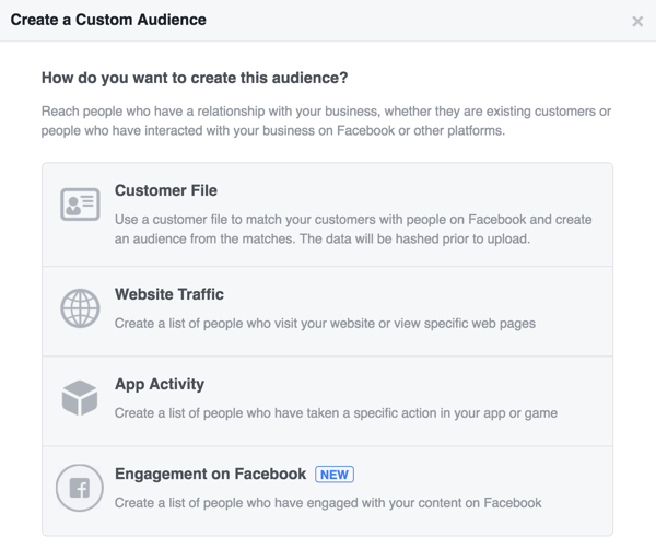 Choose how you want to create your Facebook custom audience.