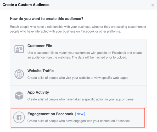 Select Engagement on Facebook to set up your Facebook custom audience.