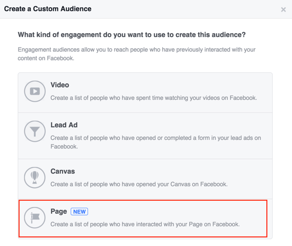 Choose Page to create your Facebook custom audience.