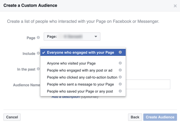 Create a custom audience of people who have interacted with your business on Facebook.