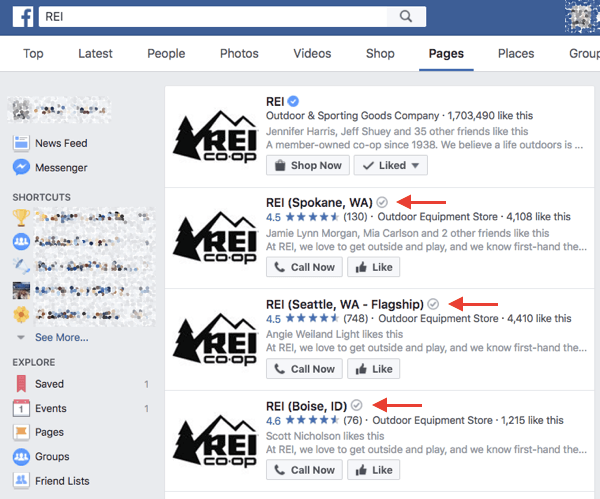Verified local businesses on Facebook receive a gray verification badge next to their name in search results and on their page.