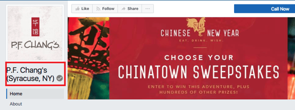 PF Chang's Syracuse, NY location has a gray badge to signify it's a verified Facebook page.