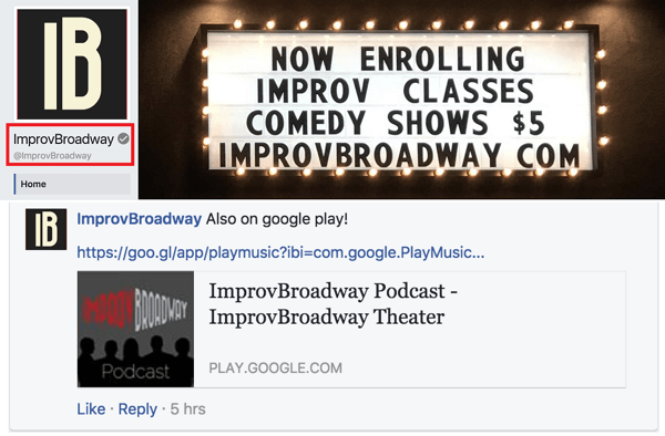 Notice that ImprovBroadway's Facebook page has a gray check mark next to its name at the top; however, it doesn't appear alongside the name in posts or comments.