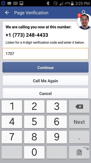 Enter the verification code you received from Facebook and tap Continue.