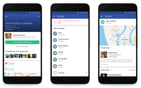 Facebook Community Help allows people to find and give help such as food, shelter and transportation and connect with one another after a crisis or natural disaster.