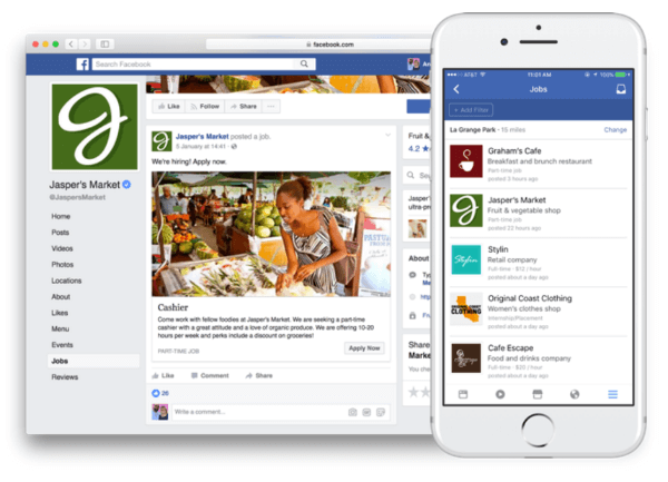 Facebook is rolling out new features that allow job posting and application directly on Facebook.