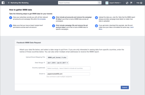 Facebook announced the launch of a new marketing mix modeling portal designed to help marketers see how their Facebook ads perform, in comparison with other platforms, like TV or print.