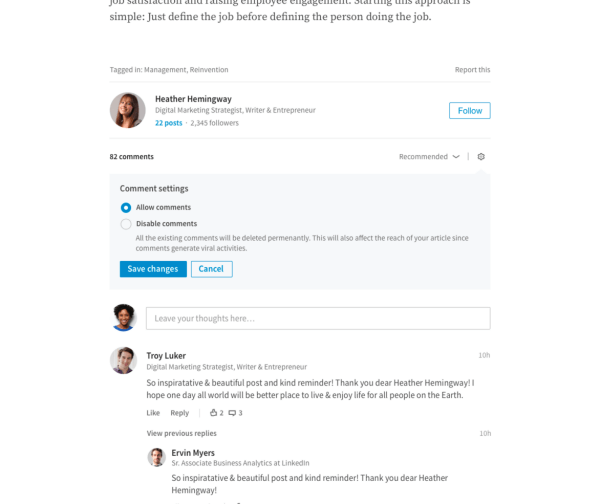 LinkedIn rolled out the ability for publishers to directly manage the comments on their long-form articles.