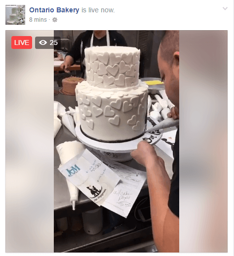 This live broadcast lets viewers see how the bakery decorates wedding cakes.