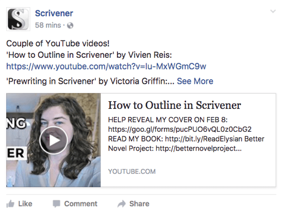 Scrivener shares a YouTube video that users might like on its Facebook page.