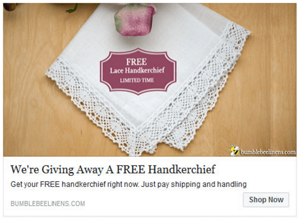 Bumblebee Linen's free plus shipping offer is another way Steve gets email addresses.