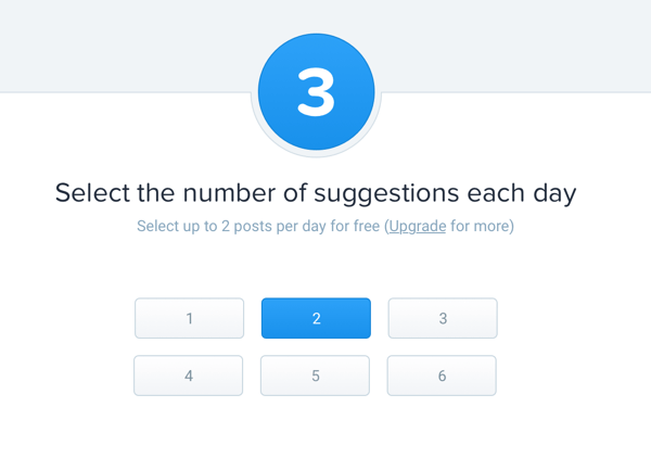 Choose how many suggestions you want to receive from Quuu daily.