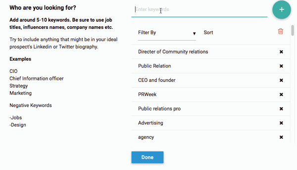 Socedo lets you search for prospects by job title, company name, influencer name, and more.