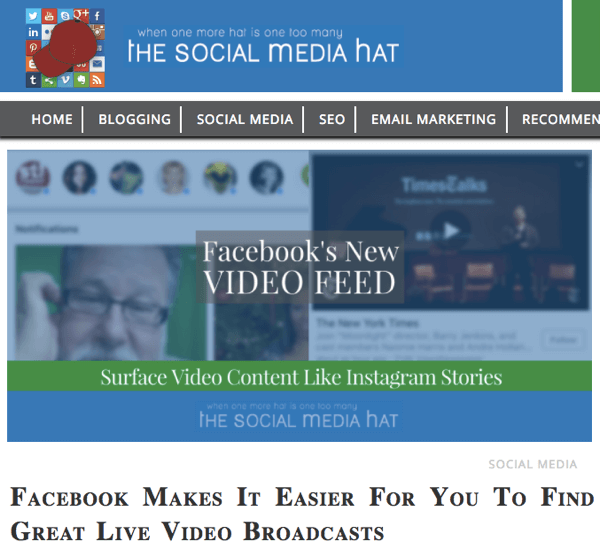 Social Media Examiner 2017 Top 10 Blog Contest winner, The Social Media Hat.