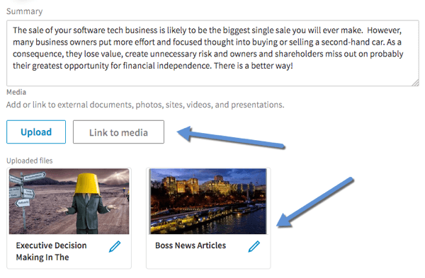 Click Link to Media to add video to the Summary, Experience, and Education sections of your LinkedIn profile.