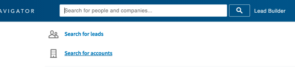 Click in the LinkedIn search box and then click Search for Accounts.