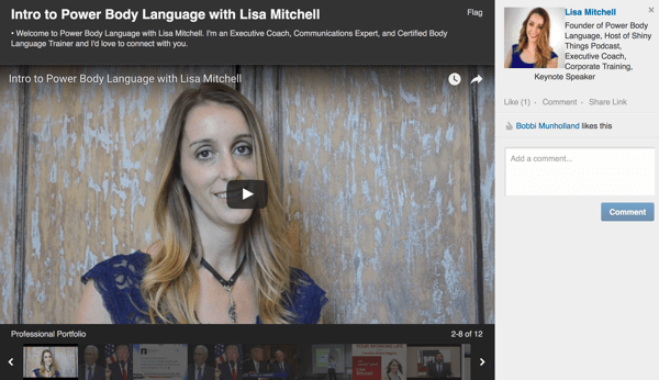 When you click to watch a video on a LinkedIn profile, it shows up in full-screen view.
