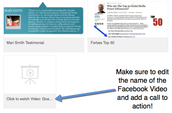 When you add Facebook video links to your profile, edit the title to include a call to action to watch the video.
